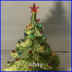 19 Vintage 1974 Atlantic Mold Ceramic 3 Piece Lighted Christmas Tree with Star