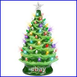 24 Grandmas Retro Ceramic Green Glaze Lighted Tabletop Christmas Tree X Large