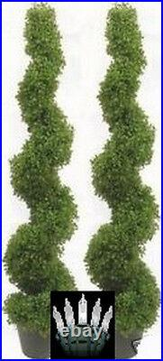 2 Boxwood Spiral Topiary 48 Artificial Uv Outdoor Tree Christmas Lights 5 3 6