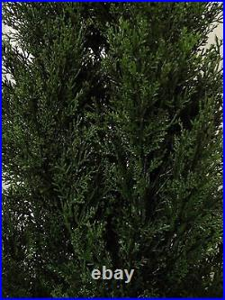 2 Cedar Outdoor Topiary Tree 5' Plant Artificial Cypress Pine & Christmas Lights