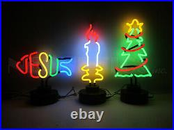 3 Christmas Neon sign sculpture table lamps Xmas Tree Candle Jesus Fish lights