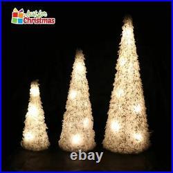 3 Pcs LED Light Up Christmas Tree Cone Pyramids Glitter Ornament Fairy Lights UK