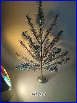 3ft Aluminum Tinsel Christmas Tree withColor Wheel Rotating Light Mid Century VTG
