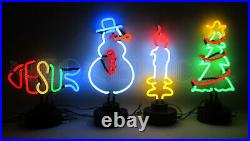 4 Neon sculpture sign Christams Xmas Tree Snowman Candle lights Jesus Fish Glass
