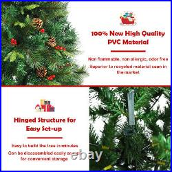 6Ft Pre-lit Hinged PE Artificial Christmas Tree with 250 LED Lights & Pine Cones