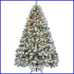 6ft/7.5ft Pre-lit Snow Frosted Artificial Christmas Tree with 250 Warm Light