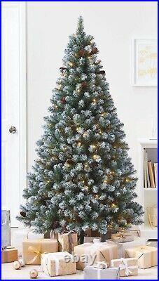 6ft Pre Lit Snowy Derry Premium Artificial Christmas Tree With 180 Led Lights AC