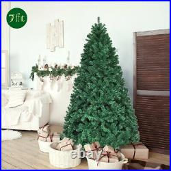 7Ft Pre-Lit PVC Artificial Christmas Tree Hinged with 300 LED Lights & Stand Green