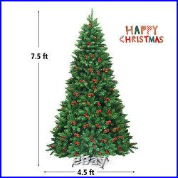 7.5Ft Pre-lit Hinged Christmas Tree with550 LED Lights & Pine Cones for Decoration