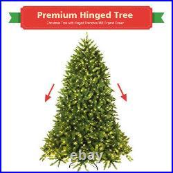7.5ft Pre-lit PVC Christmas Fir Tree Hinged 8 Flash Modes 700 LED Lights