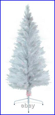 7' Fiber Optic White Artificial Christmas Tree with Multi-Colored LED Lights