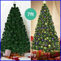 7' Pre-Lit Fiber Optic Artificial Christmas Tree with 280 LED Lights & Top Star