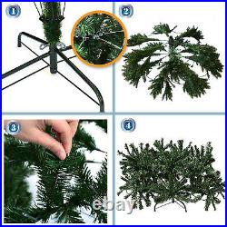 7ft Deluxe Artificial Christmas Tree w 2154 Branch Tips Hinged Unlt/ Prelit Fir