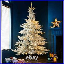 7ft Pre-Lit Frosted Nordic Spruce Christmas Tree With 250 Warm White Led Lights