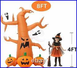 8FT Blow up Outdoor Yard Decor Halloween Inflatable Pumpkin Ghost Tree & Light