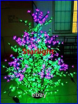 960pcs LEDs 6ft LED Christmas Tree Light Pink Cherry Blossom Flower+Green Leaf