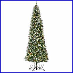 9 ft Pre-Lit Christmas Tree White Snow Flocked Holiday Decoration with LED Lights