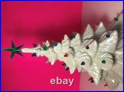 Atlantic Mold Pearl White Ceramic Lighted Vintage Christmas Tree 1970s