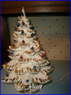 Atlantic Mold Vintage 20 Lighted Ceramic Christmas Tree White WithGold 3 Pieces