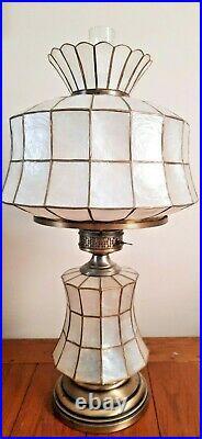 BIG Capiz Shell Table Lamp Hurricane Lamp & Capiz Shell Lighted X-mas Tree Star