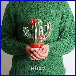 Ceramic Christmas Tree Cactus, Light Up Vintage/Nostalgic Lighted Decoration, 9