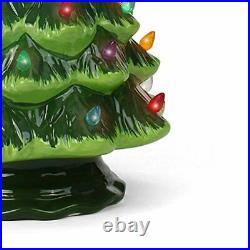 Ceramic Christmas Tree, Large Green Tabletop Tree, Multicolored Lights 15.5