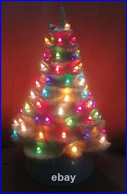 Ceramic Christmas Tree Lighted 20 Made from Vintage Mold White / Blue