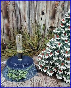 Ceramic Christmas Tree Lighted Frazier Fir 17 inch Green / Navy