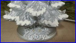 Ceramic Christmas Tree Lighted Nowell 14 Silver Flocked Holly Base