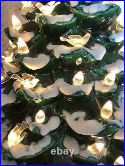 Ceramic Christmas Tree Snow Clear Lights Birds Holy Nativity Base 20 tall