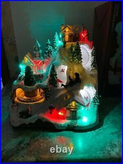 Christmas Animated Village Train Tree Musical Lighted Downhill Snow Ski Mountain