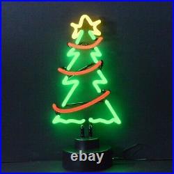 Christmas Tree Neon sculpture sign ornament light lamp hand blown glass Xmas