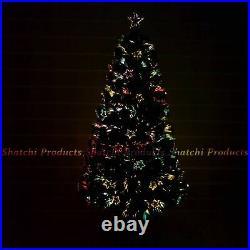 Christmas Tree Pre-Lit Fiber Optic Pine LED Lights Xmas Home Decor Star 2-6FT UK