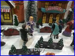 Christmas Village Scene Light Up Shops, Large Set. People, Trees, Walls, Snow