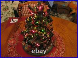 Danbury Mint Miniature Pinscher Dog Christmas Tree Lighted Figurine-HTF
