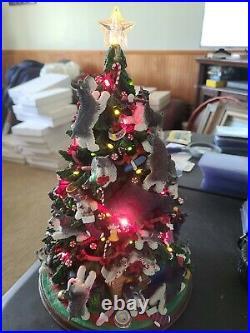 Danbury Mint Miniature SCHNAUZER Christmas Tree Lighted Collectible Dog Tree