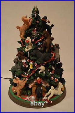 Danbury Mint Poodle Dog Christmas Tree Lighted Figurine Retired