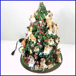 Danbury Mint Sheltie Christmas Tree Rare Decoration All Lights Work Missing Star