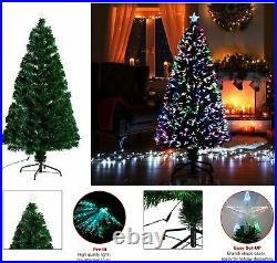 Fibre Optic Christmas Tree Xmas LED Lights Pre Lit Star Green Color Changing New