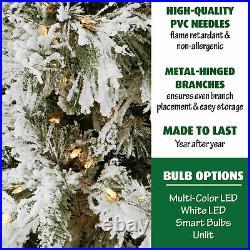Fraser Hill Farm Pre-Lit 6.5' Flocked Pine Christmas Tree Smart lights