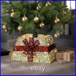 Gold LED Santa Festive Design Christmas Tree Skirt Xmas Stand Cover Decoration