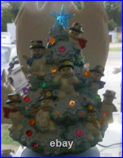 Hand Painted SNOWMAN Christmas Tree with Lights & Star