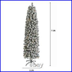 High Quality 7.5Ft Snow Flocked Artificial Pencil Christmas Tree WithLights Indoor