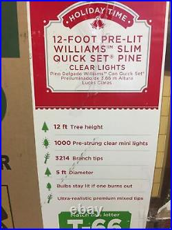 Holiday Time 12 Pre Lit Williams Slim Quick Set Pine Clear Lights 5 Diameter