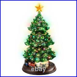 Holidays in Motion Christmas Tree Thomas Kinkade Table Top Lights up Musical