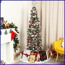 Homde Pencil Christmas Tree 6 FT Pre-Lit Artificial with Flocked 170 Lights
