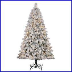 Home Heritage Cascade 7' Pine White Flocked Artificial Pre-Lit Tree (Open Box)