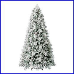 Home Heritage Flocked 7.5 Foot Christmas Tree with Lights and Pinecone (Used)