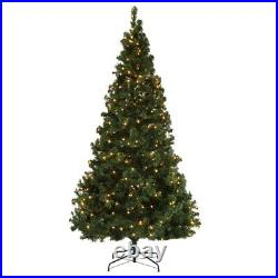 Homegear Deluxe 7.5ft Artificial Christmas Tree-Metal Stand-Prelit 550 Lights