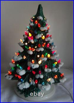 Huge 17 Vintage Mold Ceramic White Snow Flocked Super Christmas Tree Lights Up